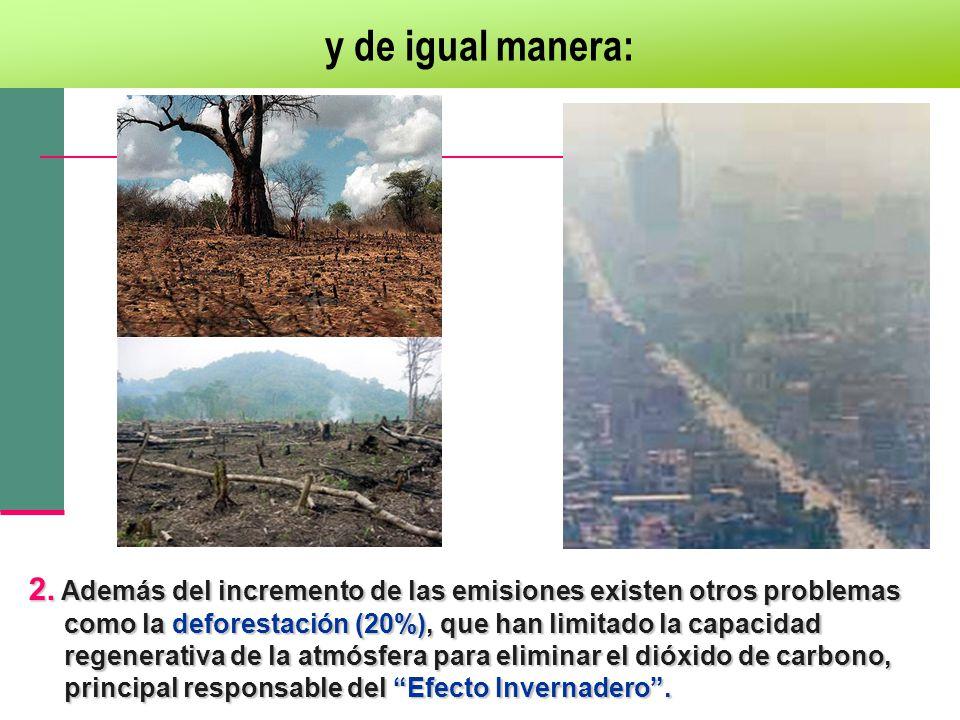 y de igual manera: 2. Además del incremento de las emisiones existen otros problemas como la deforestación (20%), que han limitado la capacidad regene