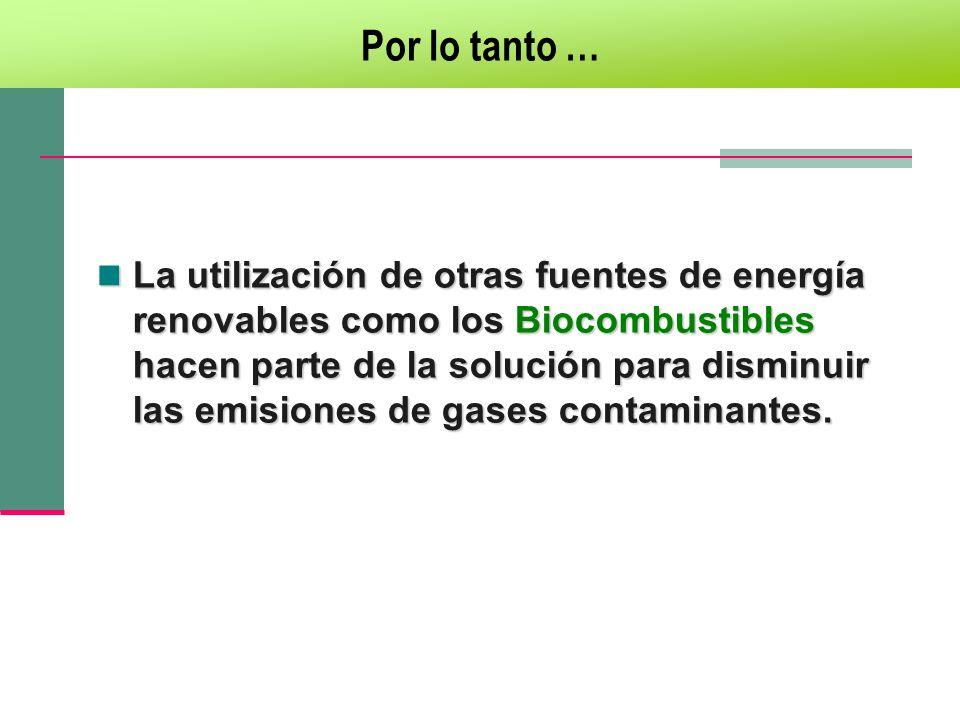 La utilización de otras fuentes de energía renovables como los Biocombustibles hacen parte de la solución para disminuir las emisiones de gases contam