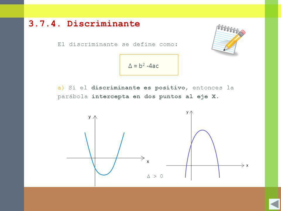 El discriminante se define como: Δ = b 2 -4ac a)Si el discriminante es positivo, entonces la parábola intercepta en dos puntos al eje X. Δ > 0 3.7.4.