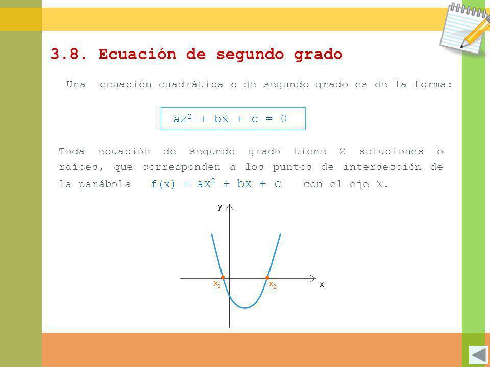 x2x2 x1x1 3.8. Ecuación de segundo grado Una ecuación cuadrática o de segundo grado es de la forma: ax 2 + bx + c = 0 Toda ecuación de segundo grado t