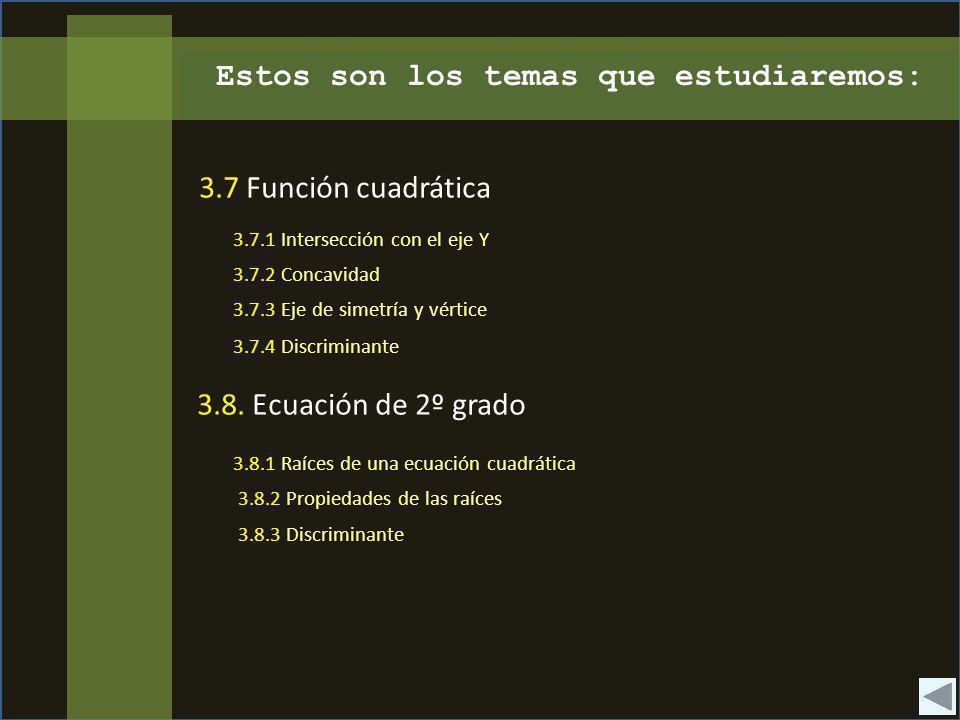 Estos son los temas que estudiaremos: 3.7 Función cuadrática 3.8. Ecuación de 2º grado 3.7.1 Intersección con el eje Y 3.7.2 Concavidad 3.7.3 Eje de s