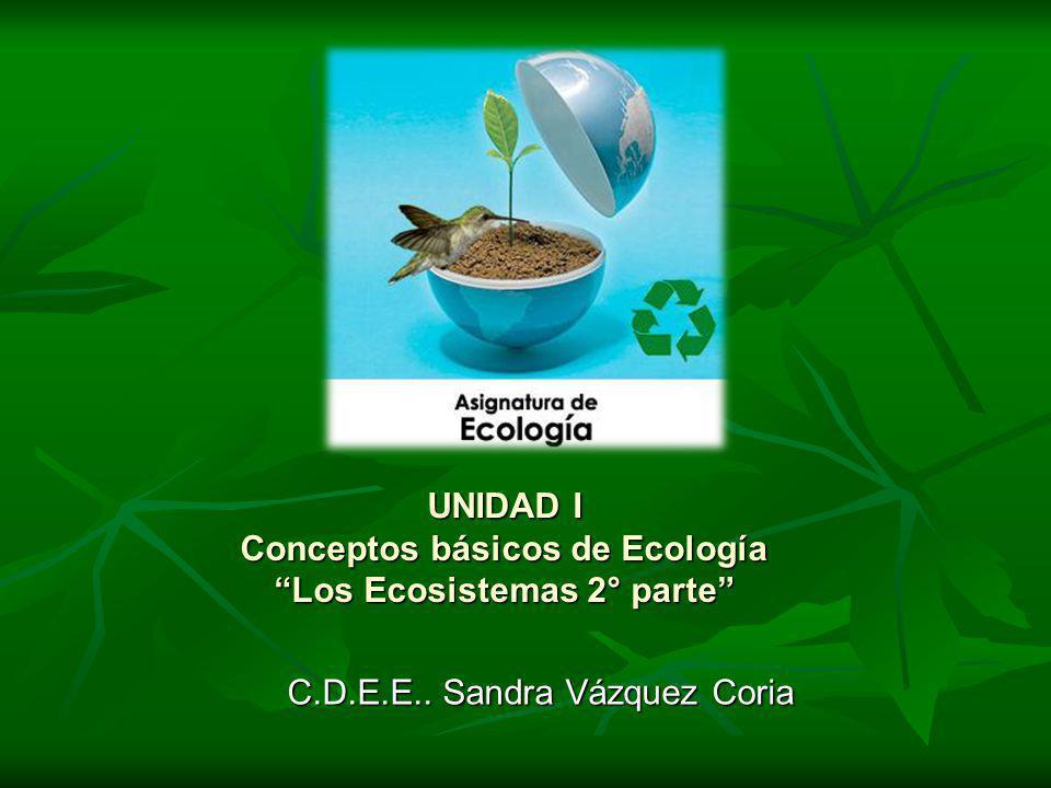 UNIDAD I Conceptos básicos de Ecología Los Ecosistemas 2° parte C.D.E.E.. Sandra Vázquez Coria