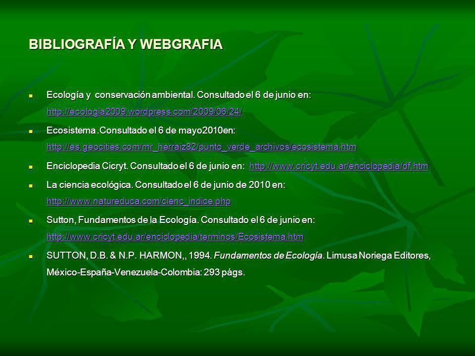BIBLIOGRAFÍA Y WEBGRAFIA Ecología y conservación ambiental. Consultado el 6 de junio en: http://ecologia2009.wordpress.com/2009/06/24/ Ecología y cons