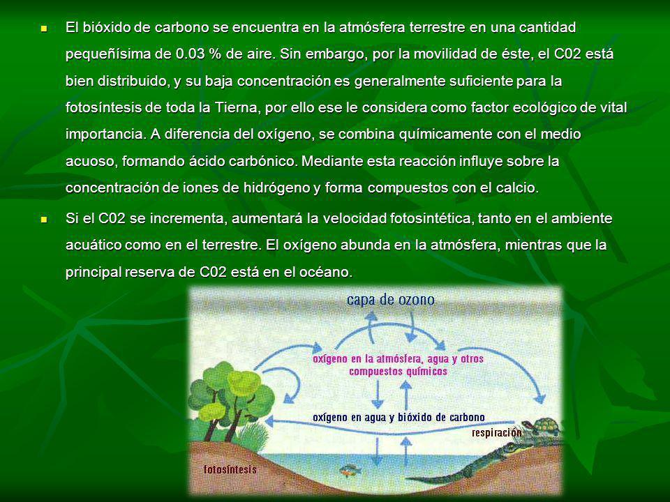 El bióxido de carbono se encuentra en la atmósfera terrestre en una cantidad pequeñísima de 0.03 % de aire. Sin embargo, por la movilidad de éste, el