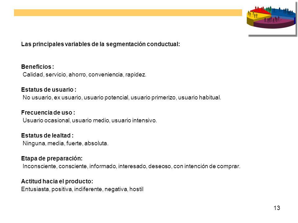 13 Las principales variables de la segmentación conductual: Beneficios : Calidad, servicio, ahorro, conveniencia, rapidez. Estatus de usuario : No usu