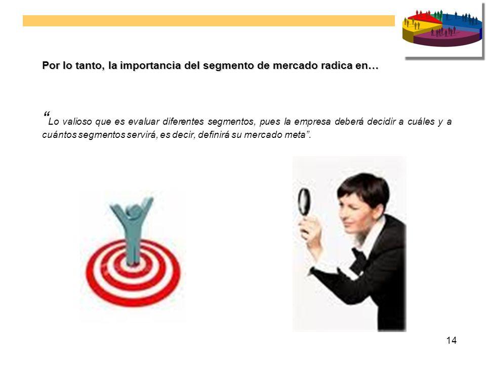 14 Por lo tanto, la importancia del segmento de mercado radica en… Lo valioso que es evaluar diferentes segmentos, pues la empresa deberá decidir a cu