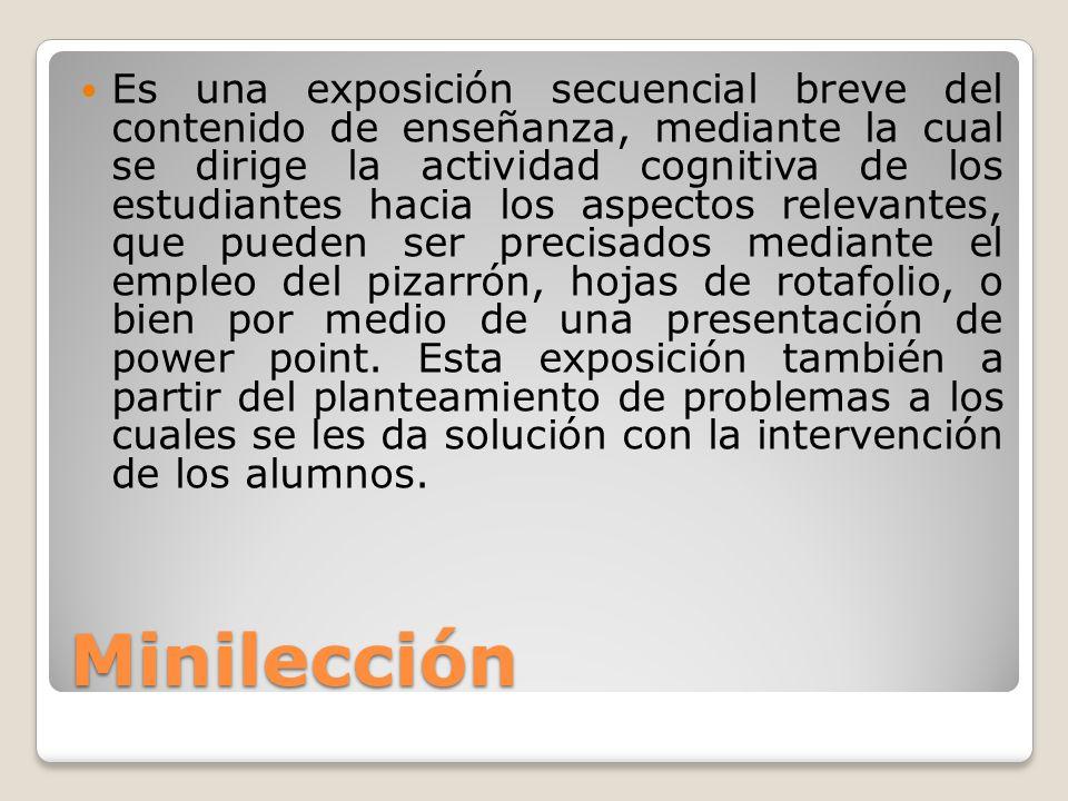 Minilección Es una exposición secuencial breve del contenido de enseñanza, mediante la cual se dirige la actividad cognitiva de los estudiantes hacia
