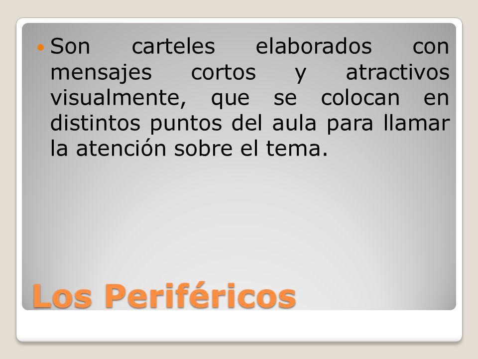 Los Periféricos Son carteles elaborados con mensajes cortos y atractivos visualmente, que se colocan en distintos puntos del aula para llamar la atenc