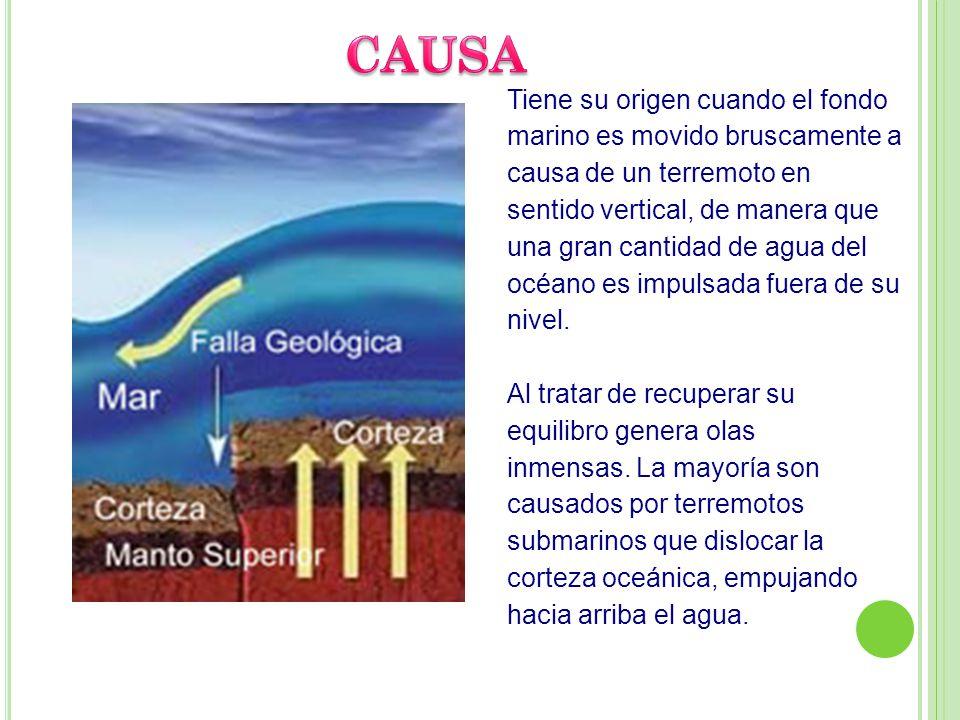Tiene su origen cuando el fondo marino es movido bruscamente a causa de un terremoto en sentido vertical, de manera que una gran cantidad de agua del