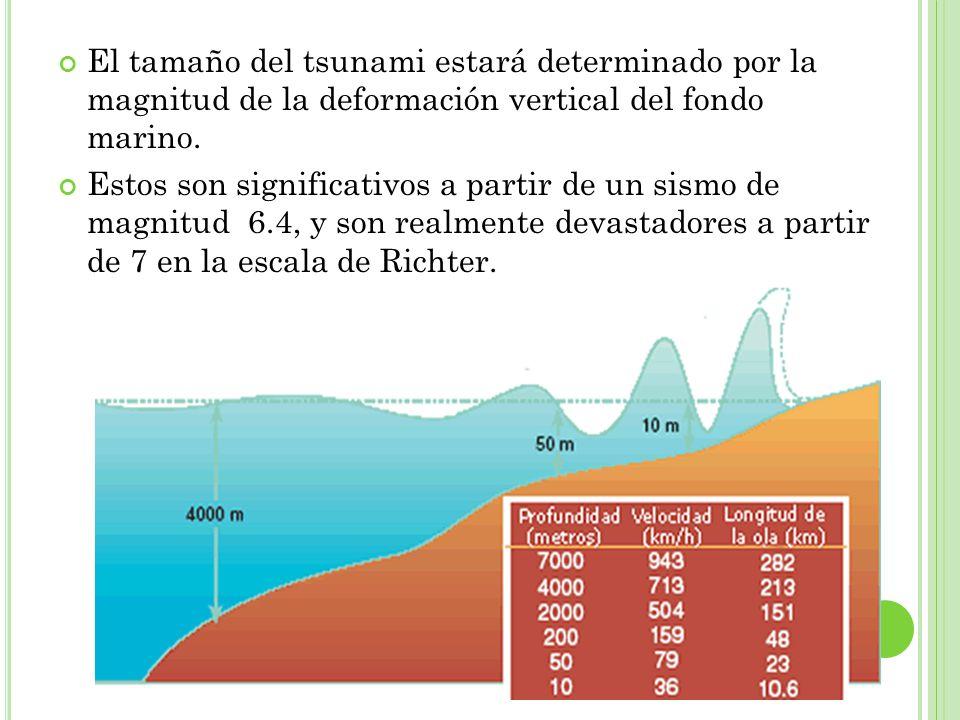El tamaño del tsunami estará determinado por la magnitud de la deformación vertical del fondo marino. Estos son significativos a partir de un sismo de