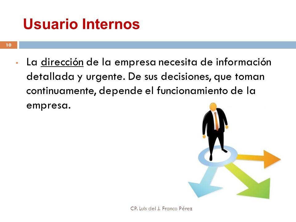 Usuario Internos La dirección de la empresa necesita de información detallada y urgente. De sus decisiones, que toman continuamente, depende el funcio