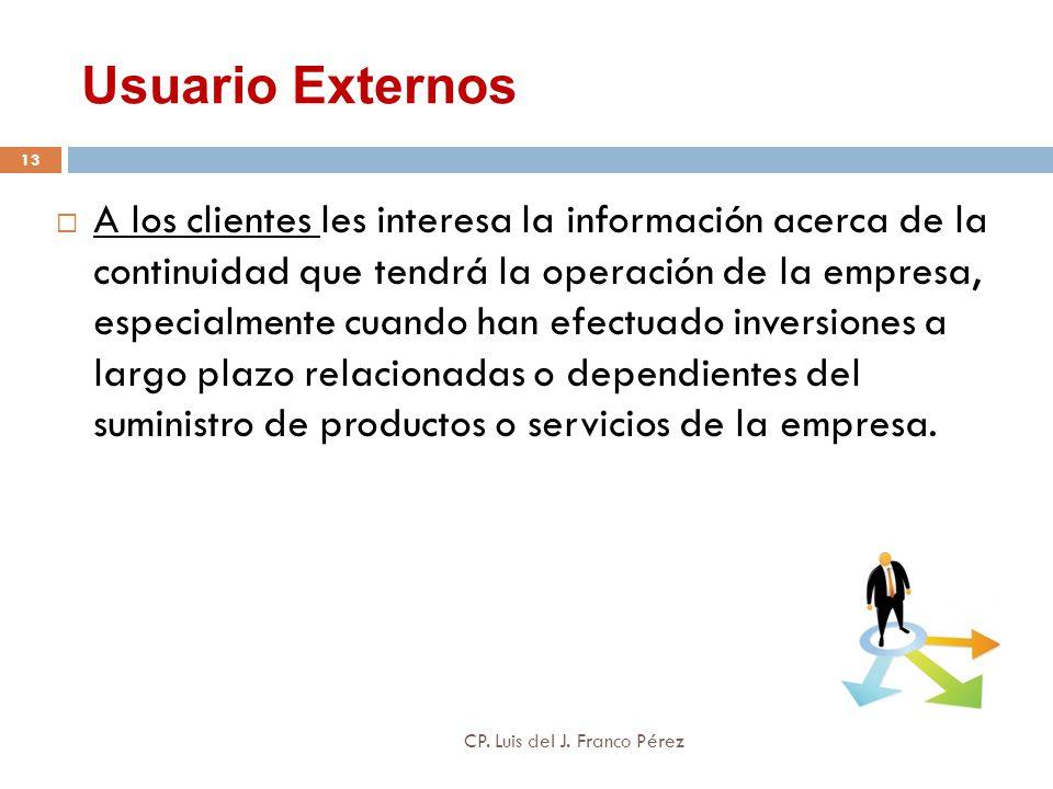 Usuario Externos A los clientes les interesa la información acerca de la continuidad que tendrá la operación de la empresa, especialmente cuando han e