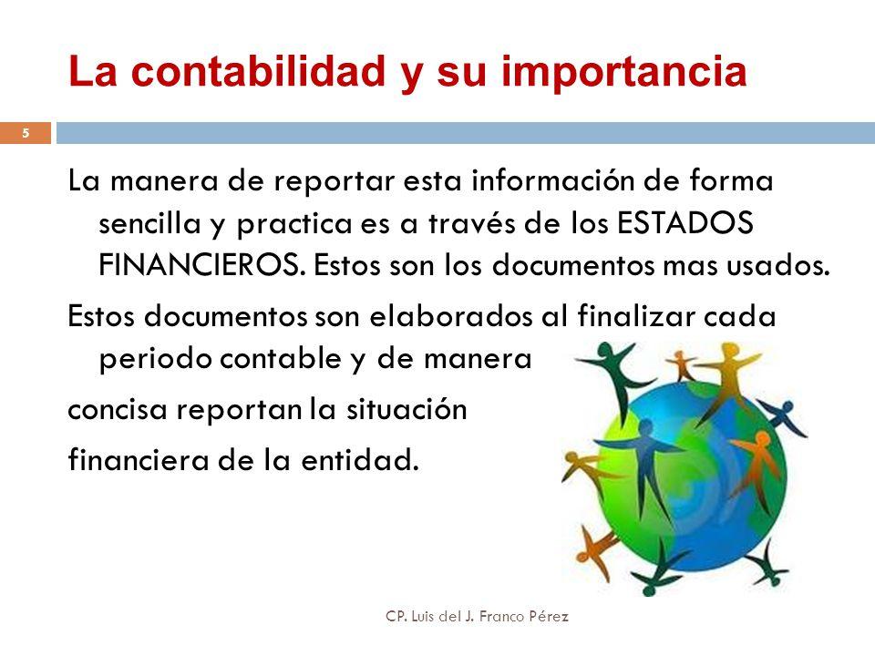 La contabilidad y su importancia La manera de reportar esta información de forma sencilla y practica es a través de los ESTADOS FINANCIEROS. Estos son