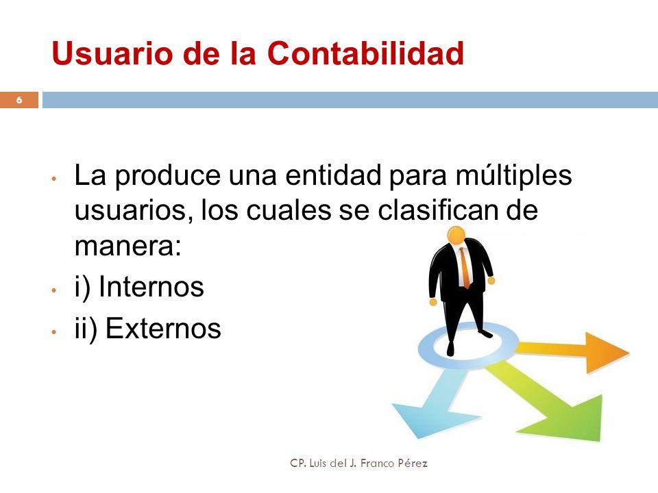 Usuario de la Contabilidad La produce una entidad para múltiples usuarios, los cuales se clasifican de manera: i) Internos ii) Externos 6 CP. Luis del