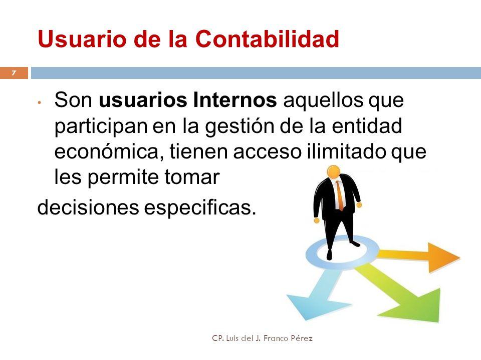 Usuario de la Contabilidad Son usuarios Internos aquellos que participan en la gestión de la entidad económica, tienen acceso ilimitado que les permit