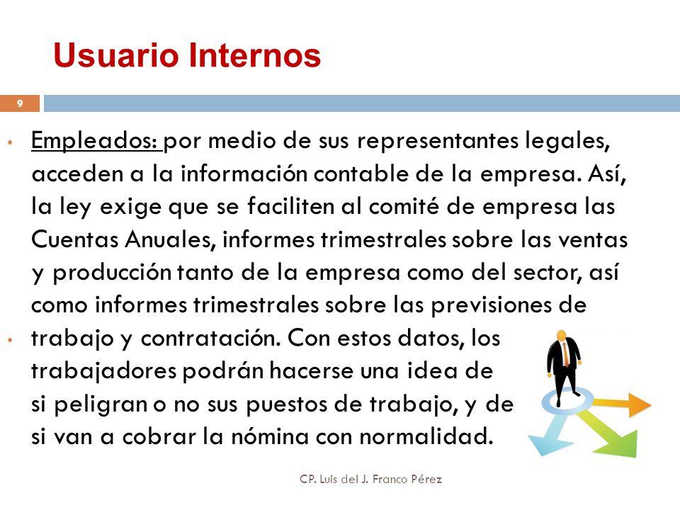 Usuario Internos Empleados: por medio de sus representantes legales, acceden a la información contable de la empresa. Así, la ley exige que se facilit