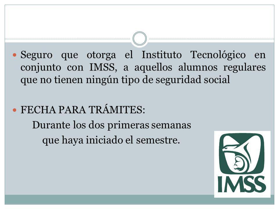 Seguro que otorga el Instituto Tecnológico en conjunto con IMSS, a aquellos alumnos regulares que no tienen ningún tipo de seguridad social FECHA PARA
