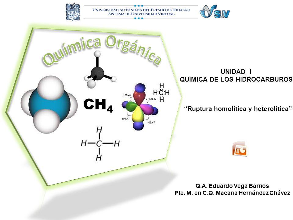 UNIDAD I QUÍMICA DE LOS HIDROCARBUROS Ruptura homolítica y heterolítica Q.A. Eduardo Vega Barrios Pte. M. en C.Q. Macaria Hernández Chávez CH 4
