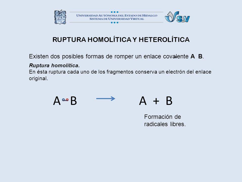 RUPTURA HOMOLÍTICA Y HETEROLÍTICA Existen dos posibles formas de romper un enlace covalente A B. Ruptura homolítica. En ésta ruptura cada uno de los f