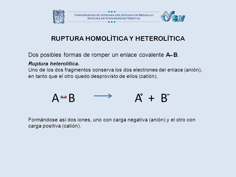 RUPTURA HOMOLÍTICA Y HETEROLÍTICA Dos posibles formas de romper un enlace covalente A B. Ruptura heterolítica. Uno de los dos fragmentos conserva los