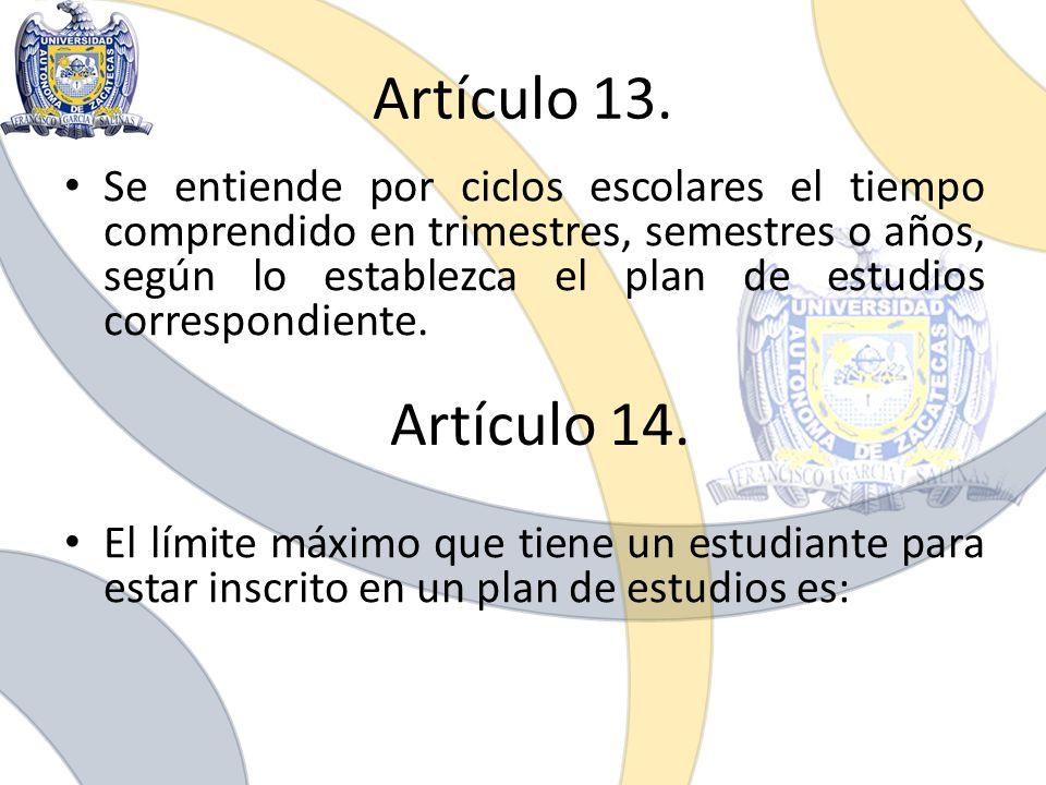 Artículo 13. Se entiende por ciclos escolares el tiempo comprendido en trimestres, semestres o años, según lo establezca el plan de estudios correspon