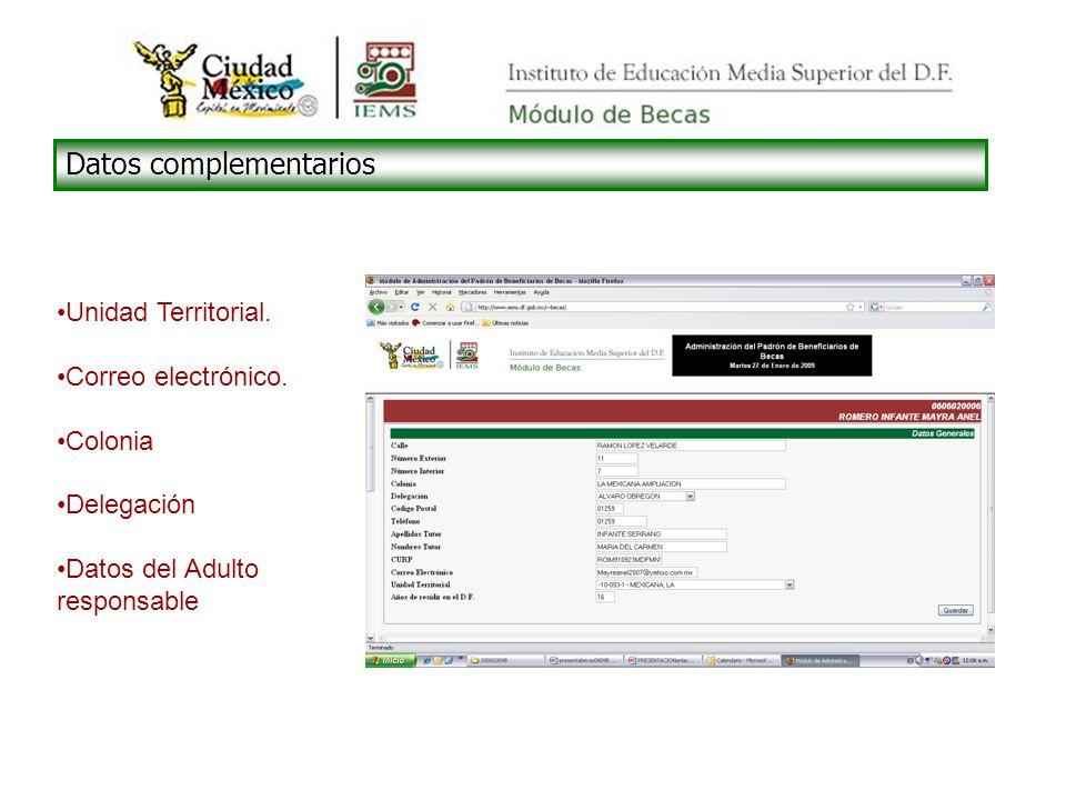 Datos complementarios Unidad Territorial. Correo electrónico.