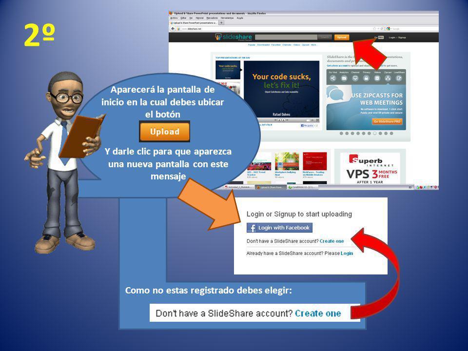 2º Aparecerá la pantalla de inicio en la cual debes ubicar el botón Y darle clic para que aparezca una nueva pantalla con este mensaje Como no estas r