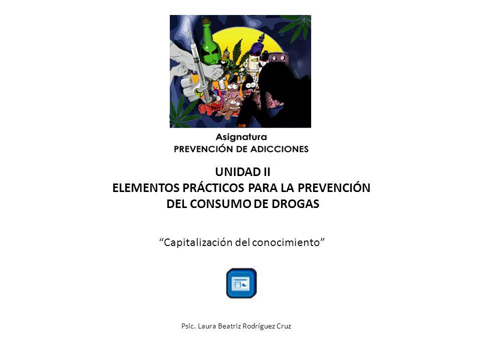 UNIDAD II ELEMENTOS PRÁCTICOS PARA LA PREVENCIÓN DEL CONSUMO DE DROGAS Capitalización del conocimiento Psic. Laura Beatriz Rodríguez Cruz