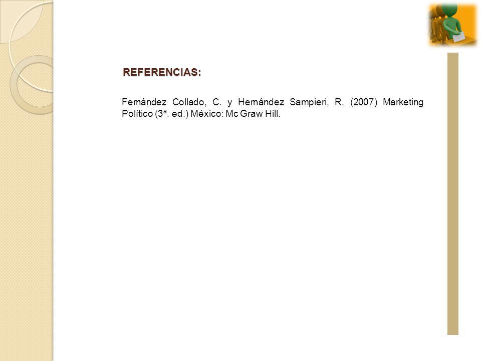 REFERENCIAS: Fernández Collado, C. y Hernández Sampieri, R. (2007) Marketing Político (3ª. ed.) México: Mc Graw Hill.
