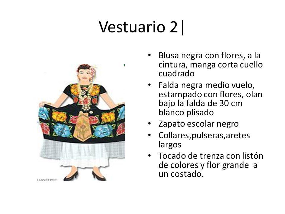 Vestuario 2| Blusa negra con flores, a la cintura, manga corta cuello cuadrado Falda negra medio vuelo, estampado con flores, olan bajo la falda de 30