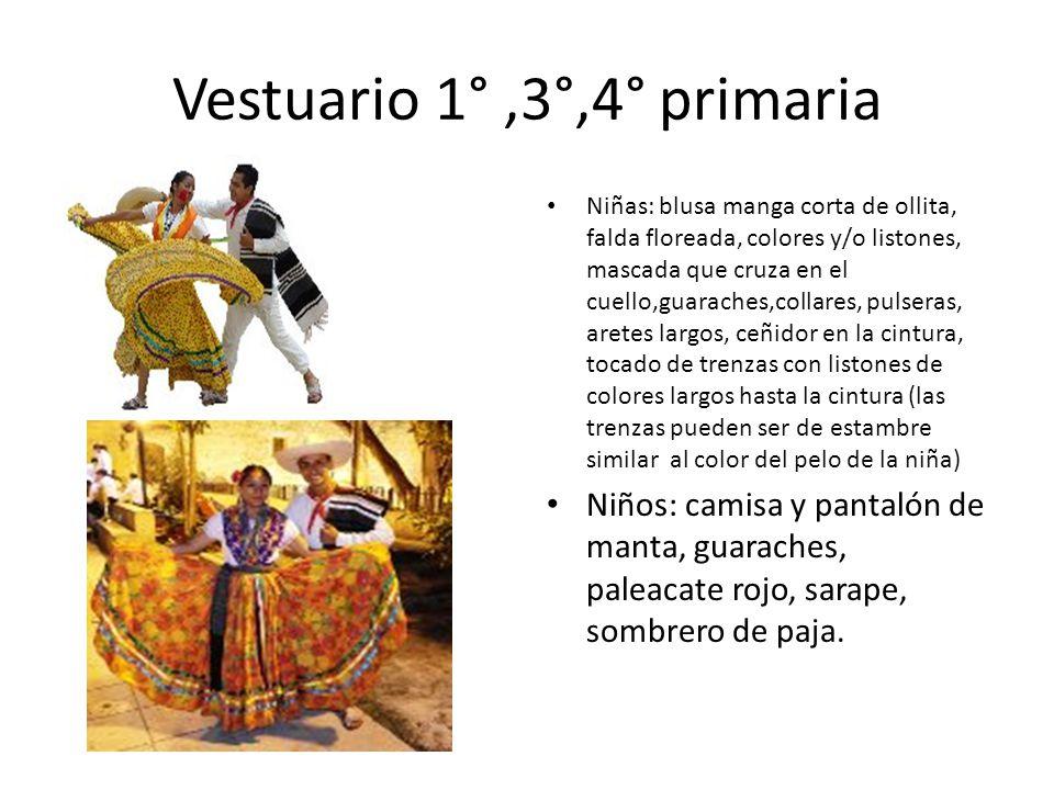 Vestuario 1°,3°,4° primaria Niñas: blusa manga corta de ollita, falda floreada, colores y/o listones, mascada que cruza en el cuello,guaraches,collare