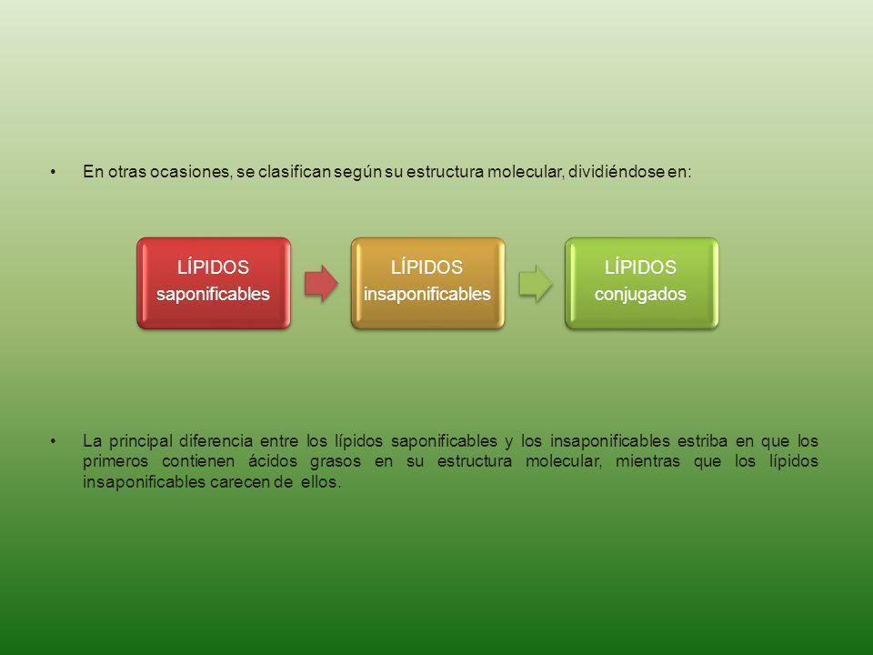 En otras ocasiones, se clasifican según su estructura molecular, dividiéndose en: La principal diferencia entre los lípidos saponificables y los insap