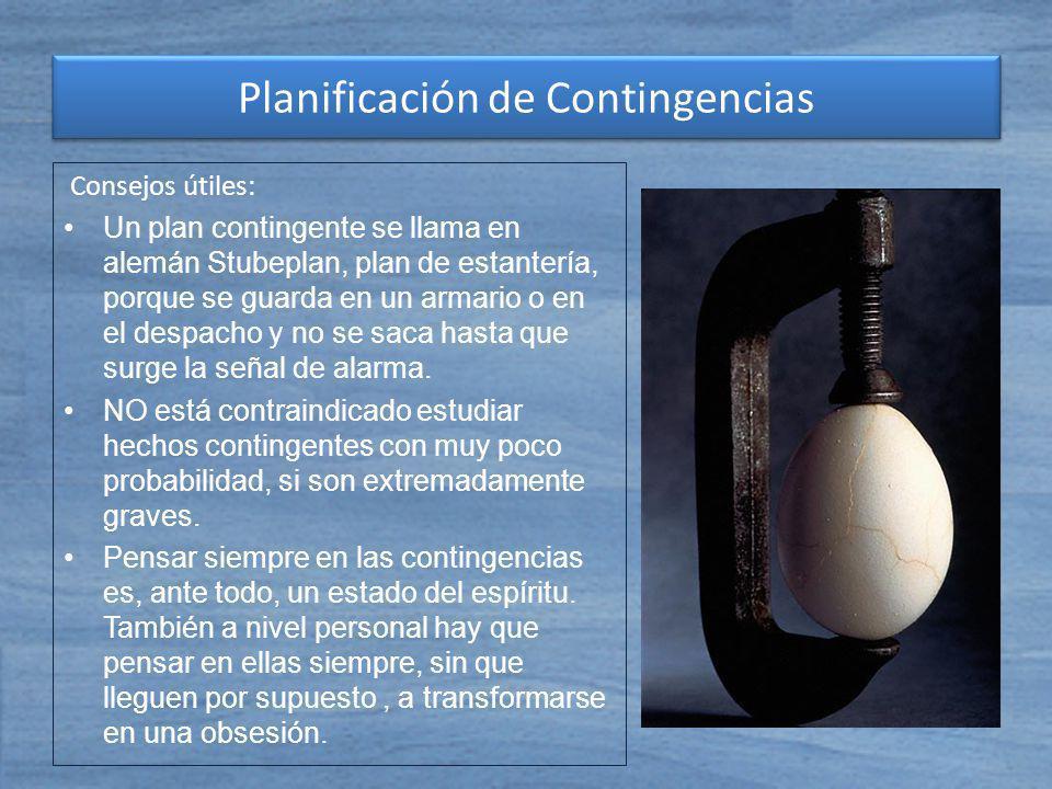 Consejos útiles: Un plan contingente se llama en alemán Stubeplan, plan de estantería, porque se guarda en un armario o en el despacho y no se saca ha