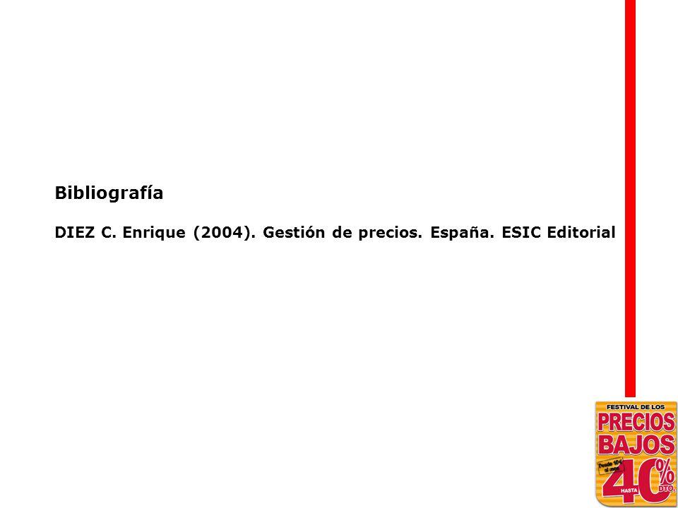 Bibliografía DIEZ C. Enrique (2004). Gestión de precios. España. ESIC Editorial