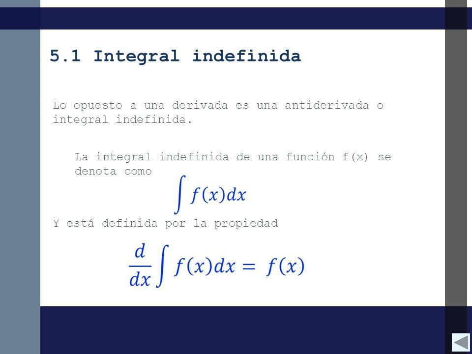 Y está definida por la propiedad Lo opuesto a una derivada es una antiderivada o integral indefinida. La integral indefinida de una función f(x) se de