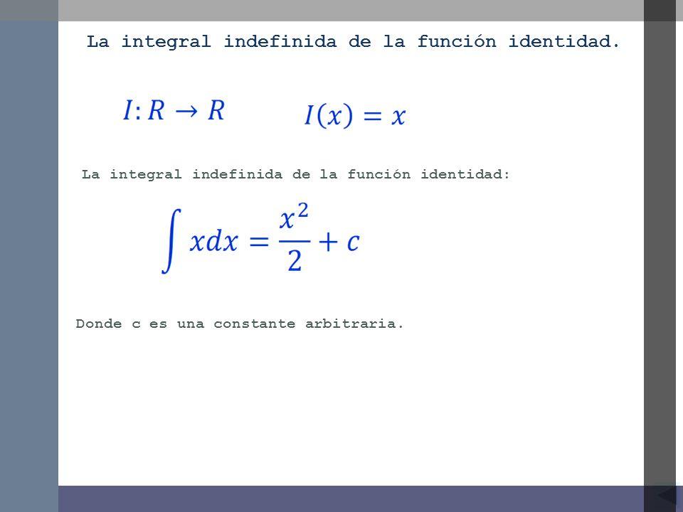La integral indefinida de la función identidad: La integral indefinida de la función identidad. Donde c es una constante arbitraria.