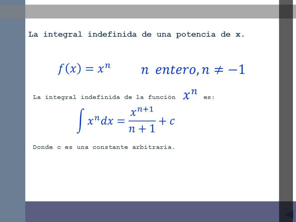 La integral indefinida de la función es: La integral indefinida de una potencia de x. Donde c es una constante arbitraria.