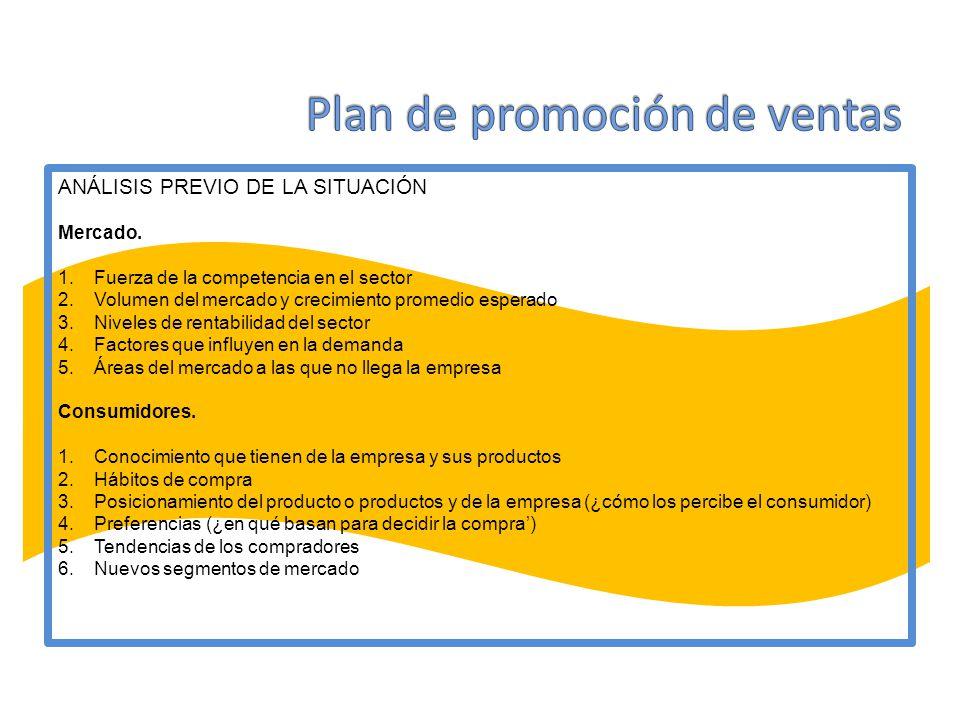 ANÁLISIS PREVIO DE LA SITUACIÓN Mercado. 1.Fuerza de la competencia en el sector 2.Volumen del mercado y crecimiento promedio esperado 3.Niveles de re