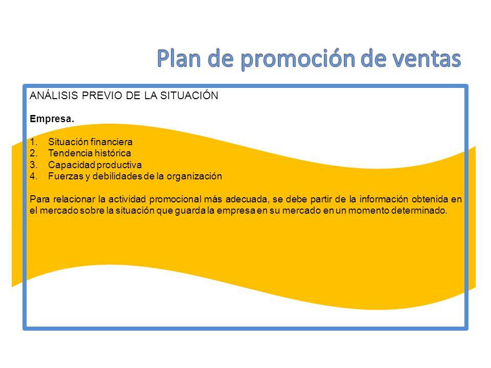 ANÁLISIS PREVIO DE LA SITUACIÓN Empresa. 1.Situación financiera 2.Tendencia histórica 3.Capacidad productiva 4.Fuerzas y debilidades de la organizació