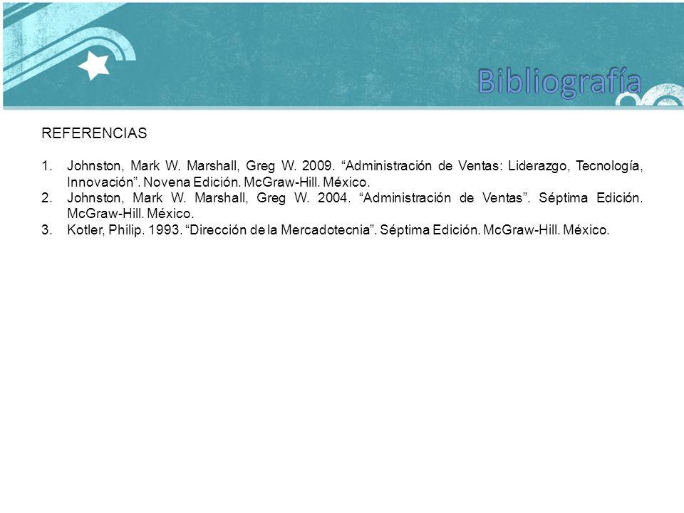 REFERENCIAS 1.Johnston, Mark W. Marshall, Greg W. 2009. Administración de Ventas: Liderazgo, Tecnología, Innovación. Novena Edición. McGraw-Hill. Méxi