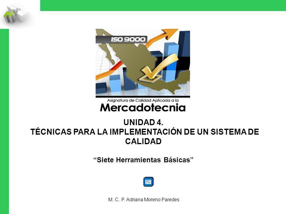 UNIDAD 4. TÉCNICAS PARA LA IMPLEMENTACIÓN DE UN SISTEMA DE CALIDAD Siete Herramientas Básicas M. C. P. Adriana Moreno Paredes