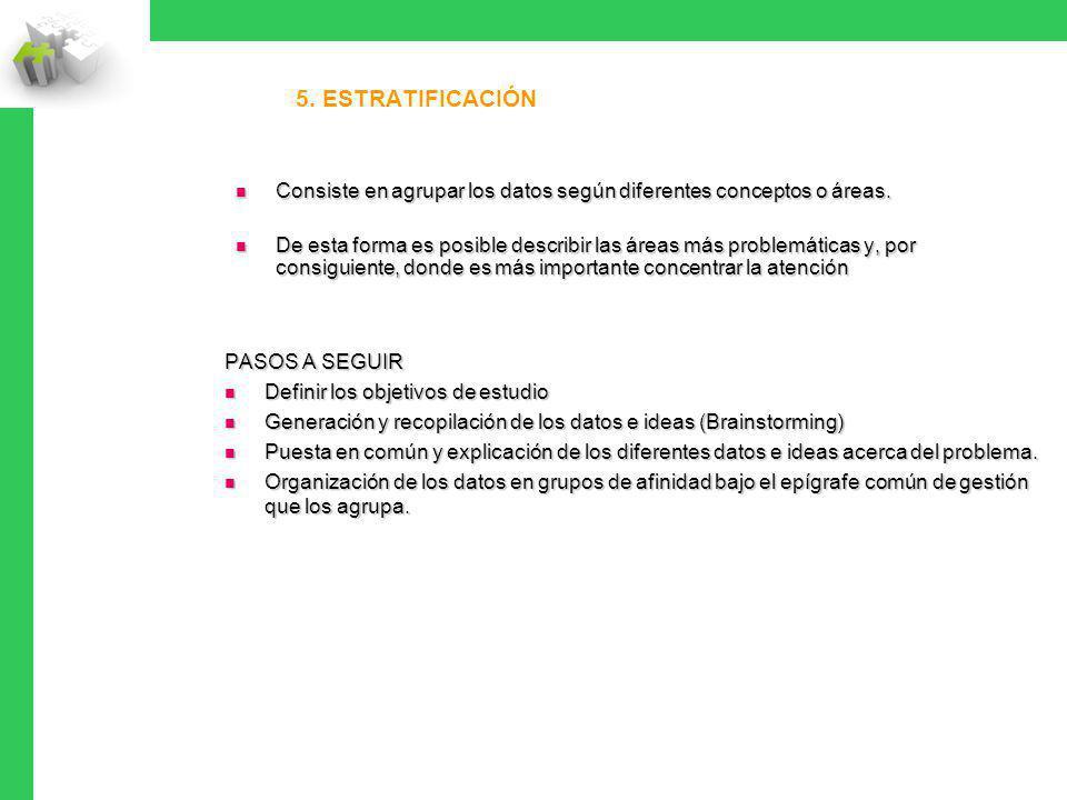5. ESTRATIFICACIÓN Consiste en agrupar los datos según diferentes conceptos o áreas. Consiste en agrupar los datos según diferentes conceptos o áreas.