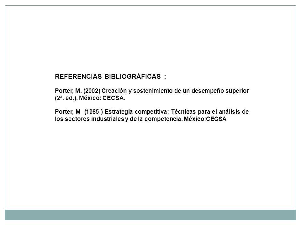 REFERENCIAS BIBLIOGRÁFICAS : Porter, M. (2002) Creación y sostenimiento de un desempeño superior (2ª. ed.). México: CECSA. Porter, M (1985 ) Estrategi