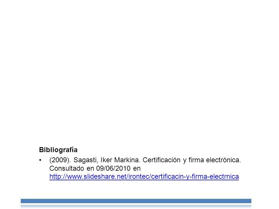 Bibliografía (2009).Sagasti, Iker Markina. Certificación y firma electrónica.