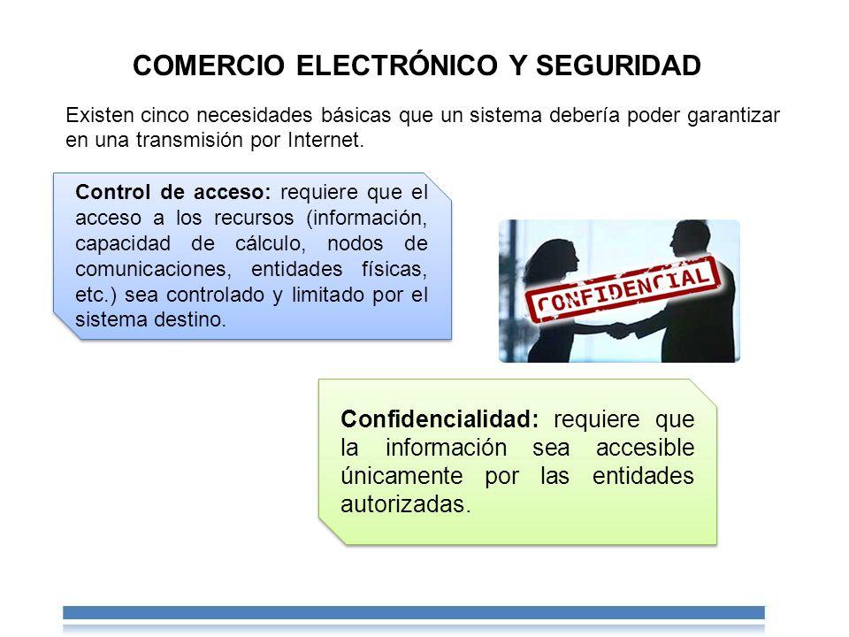 Control de acceso: requiere que el acceso a los recursos (información, capacidad de cálculo, nodos de comunicaciones, entidades físicas, etc.) sea controlado y limitado por el sistema destino.