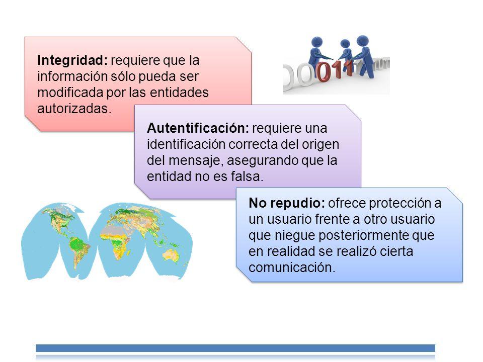 Integridad: requiere que la información sólo pueda ser modificada por las entidades autorizadas.