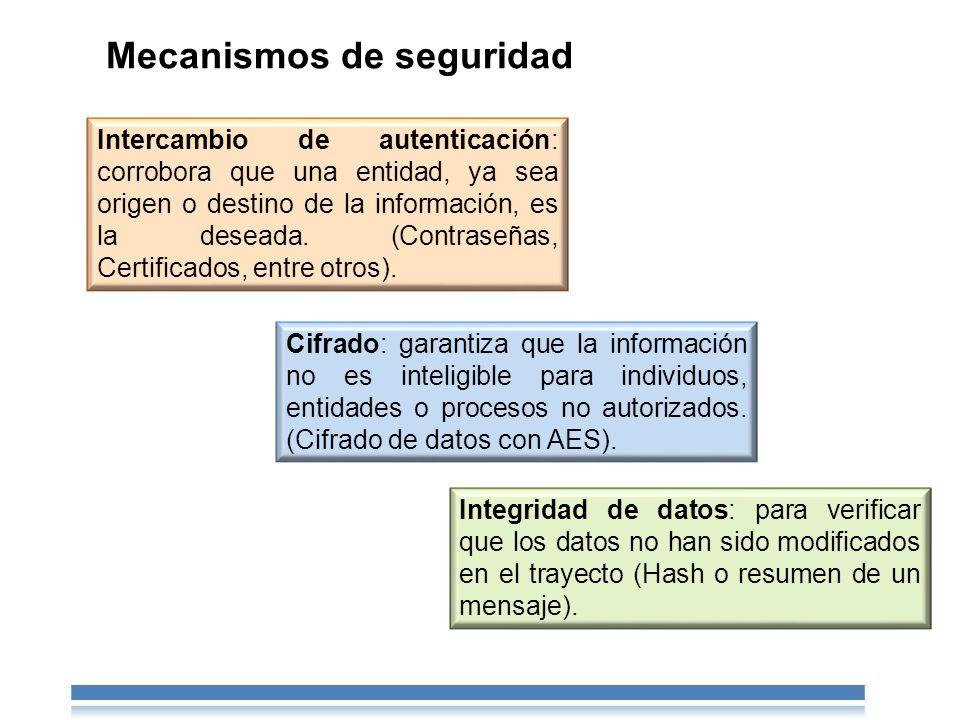 Mecanismos de seguridad Intercambio de autenticación: corrobora que una entidad, ya sea origen o destino de la información, es la deseada.