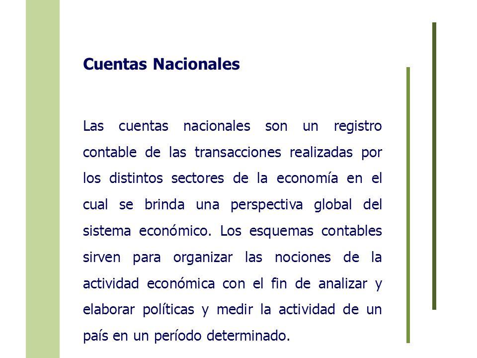 Cuentas Nacionales Las cuentas nacionales son un registro contable de las transacciones realizadas por los distintos sectores de la economía en el cua