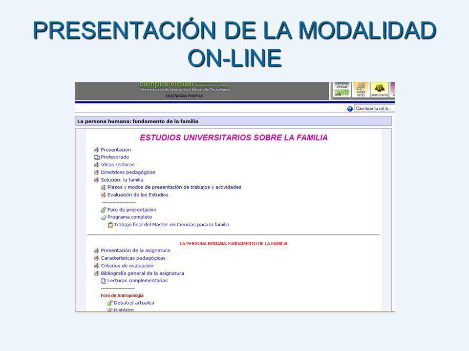 PRESENTACIÓN DE LA MODALIDAD ON-LINE