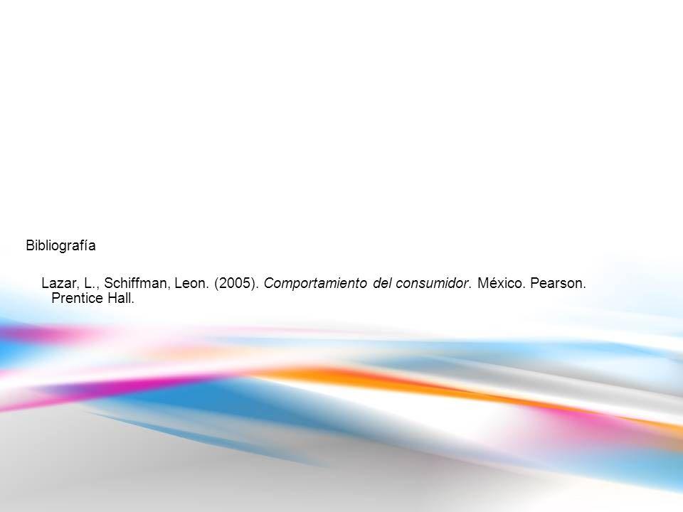 Bibliografía Lazar, L., Schiffman, Leon. (2005). Comportamiento del consumidor.